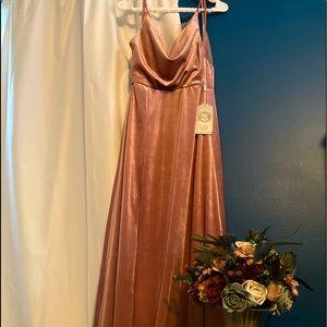Blush pink/ dusty rose velvet dress gown